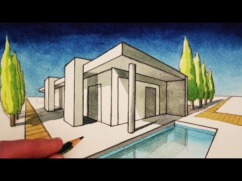 How To Draw In 2 Point Perspective A Modern House Perspective Art Perspective Drawing Architecture Architecture Drawing
