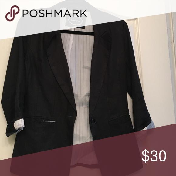Linen Blazer Black linen blazer Love Tree Jackets & Coats Blazers