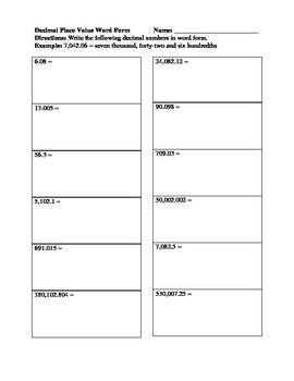 Decimal Place Value Word Form Worksheet Place Value With Decimals Place Values Math Centers