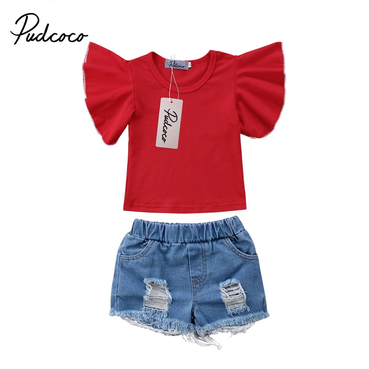 US Infants Baby Girls Kids Tops Ruffle Jeans Dress Shorts Outfits Summer Clothes