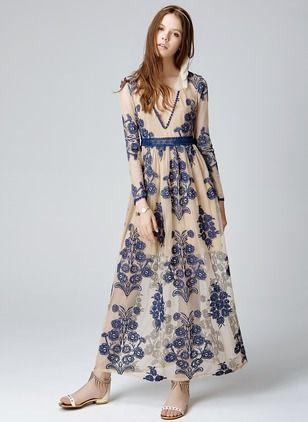 94f8e92ec4129 Cotton Floral Long Sleeve Maxi Casual Dresses