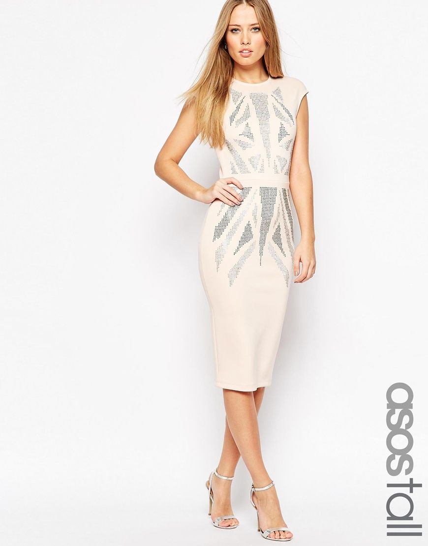 6b104a4867 Image 1 of ASOS TALL Hotfix Ergonomic Cap Sleeve Midi Dress Clothing For  Tall Women,