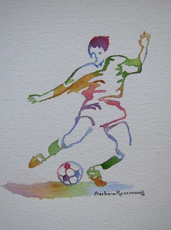 Soccer Player Man Watercolor Print Running Soccer Boy Nursery Football Art Decor