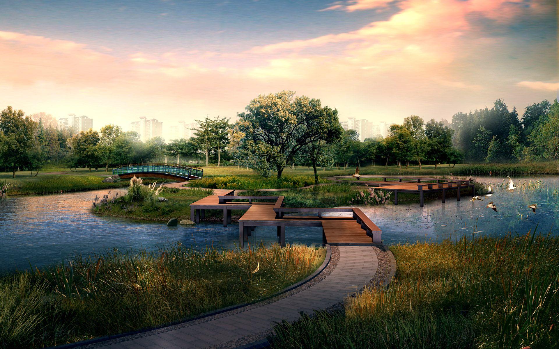 Landscape Wallpaper Japanese Garden Landscape Japanese Garden Garden Architecture