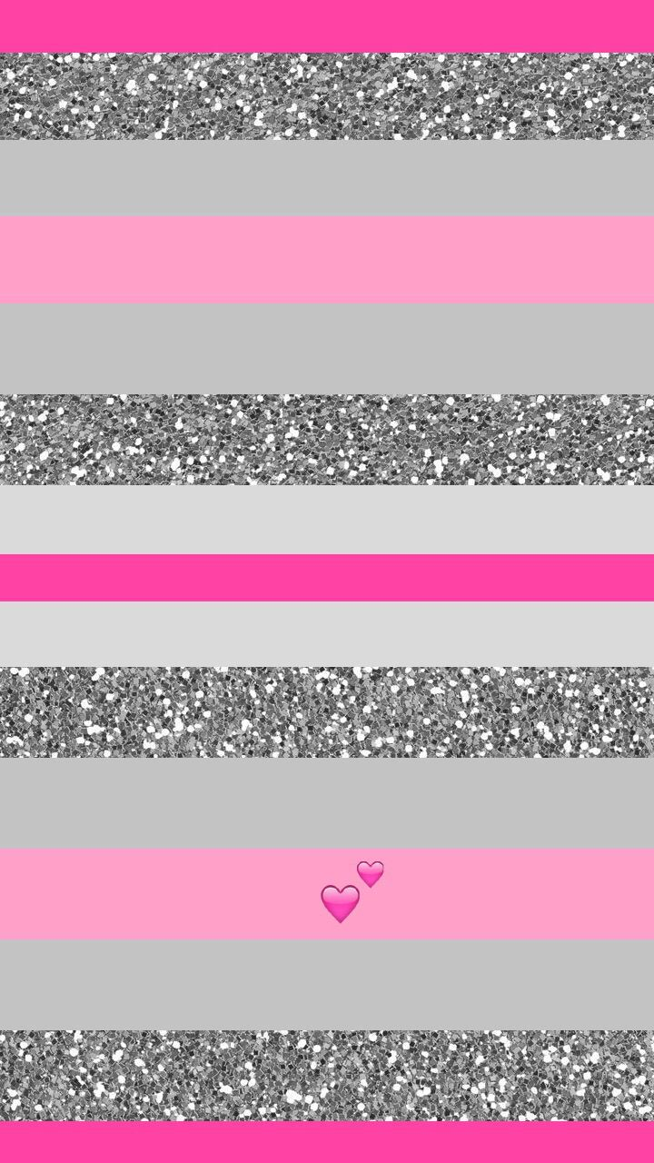 Pink and silver glitter stripe heart iPhone wallpaper