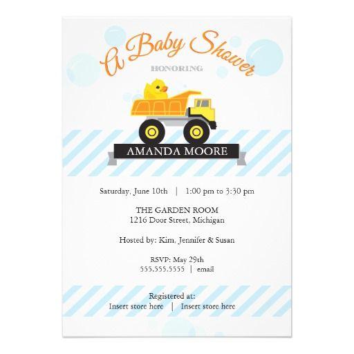 Rubber Ducky Dump Truck Baby Shower Invitation Zazzle Com Rubber Ducky Baby Shower Invitations Truck Baby Shower Invitations Truck Baby Shower