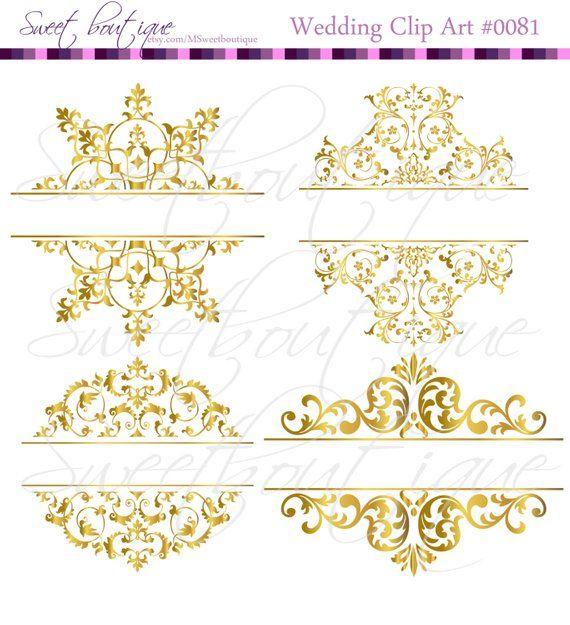 e5685c5e0e6 4 Gold Digital Borders Frames Vintage Wedding Bridal Shower Decorations  Supplies Clip Art 0081