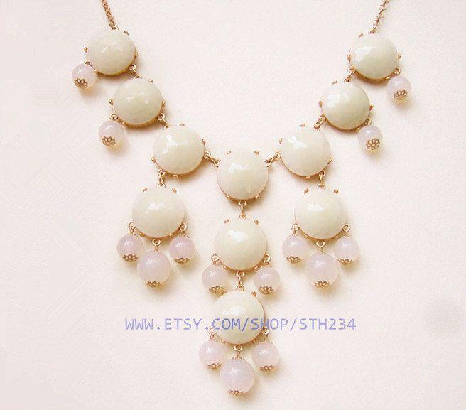SALE - Milk White - Big Size Faceted Bubble Statement Necklace - Gold Tone.