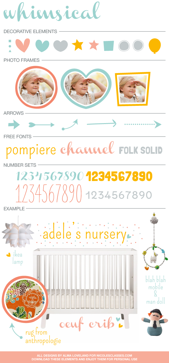 Whimsical Style Board Elements *Free Download* for @nicolesclasses