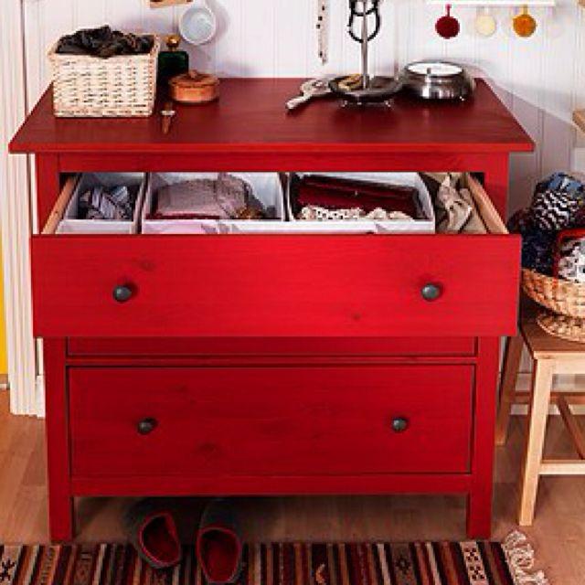 Ikea Shelves Hemnes Daybed In A Boys Bedroom: Ikea Hemnes Dresser Red