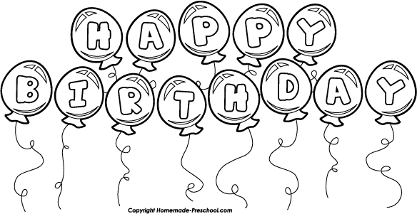 Happy Birthday Balloons Clipart Black And White