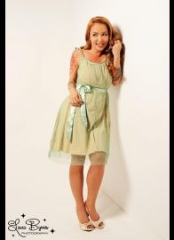 Stardust Dress in Beige with Green Tulle