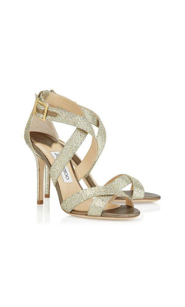Jimmy Choo Lottie Champagne Glitter Fabric Sandals. #highheels #weddingshoes