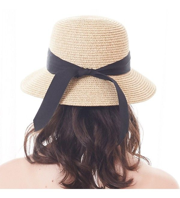 e0b4634ab Hats & Caps, Women's Hats & Caps, Sun Hats, Womens Foldable Summer Sun  Beach Straw Hat UPF50 Travel Packable Summer Cap Beige With Black Strap  CZ180OD4ZL5 ...