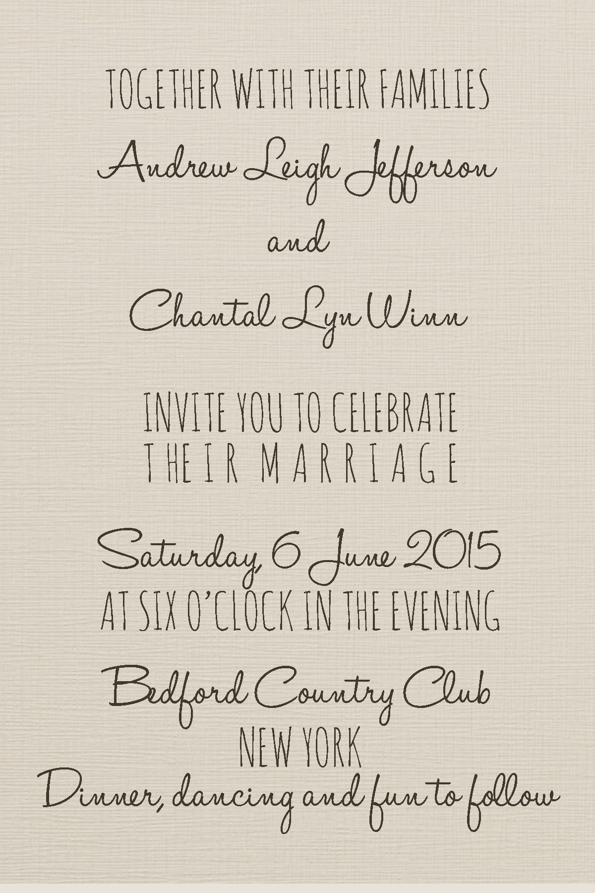 Wedding Invitation Fonts Used- Halo Hand Letter and Amactic sc ...