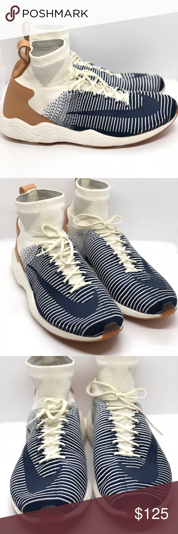 new style 09b78 2db8e NEW Nike Zoom Mercurial XI FK Mens 844626-101 NEW Nike Zoom Mercurial XI FK  Mens 844626-101 Sail Navy Gum Flyknit Shoe Size 13 Without box. 100%  Authentic.