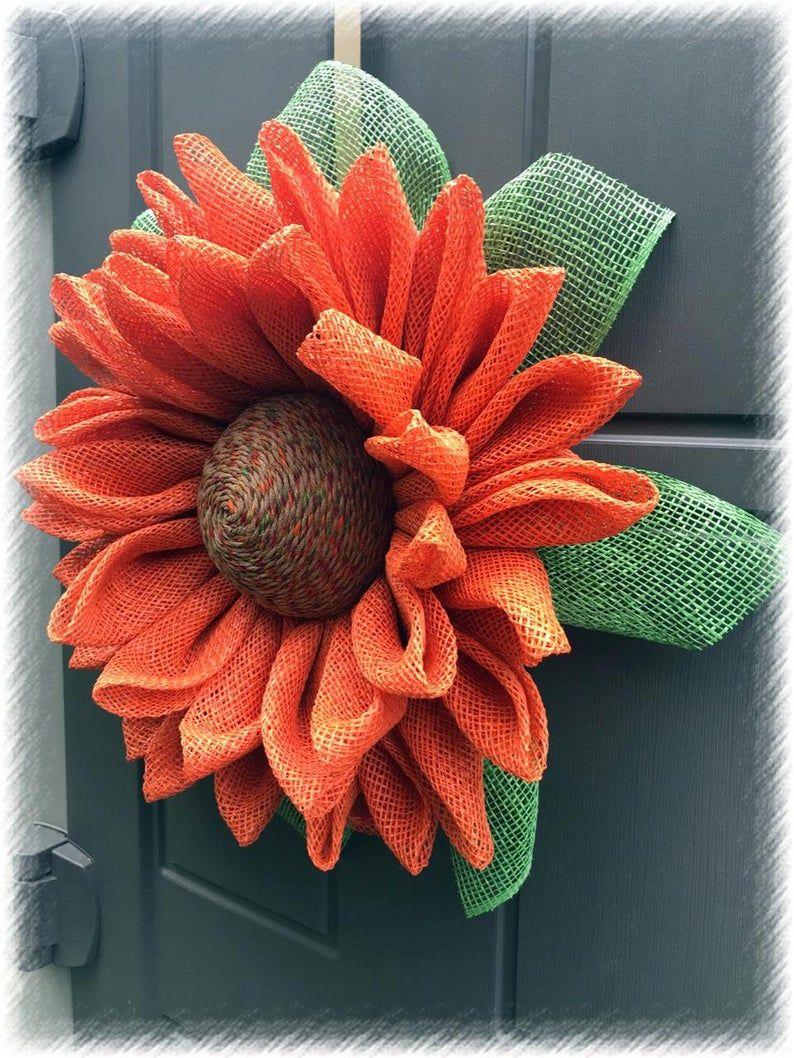 Photo of Sunflower Wreath, Burlap Wreath, Burlap Sunflower Wreath,  Orange Sunflower Wreath