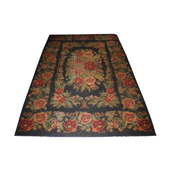 Ein Kelim-Teppich, Iran, schwarz mit Blumenmuster, gewebt Händen. Abmessungen: 257 x 338 cm (8,68 m2..., Epoche Neuf