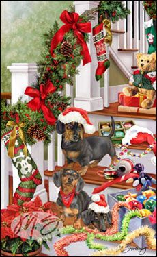 Shop for Cards - Dachshund - Dachshund - Tree Trimming - (Black & Tan)