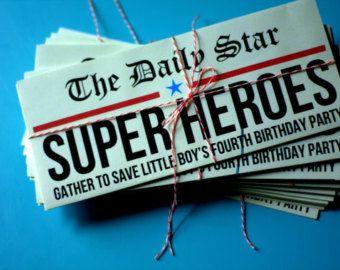 Superhero Newspaper Invitation Etsy Super Heroes