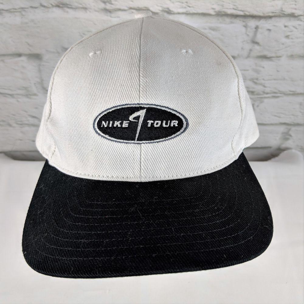 25af79f59b0 Vintage NIKE GOLF Strapback SWOOSH Logo White Cap Hat 90s  Nike  BaseballCap