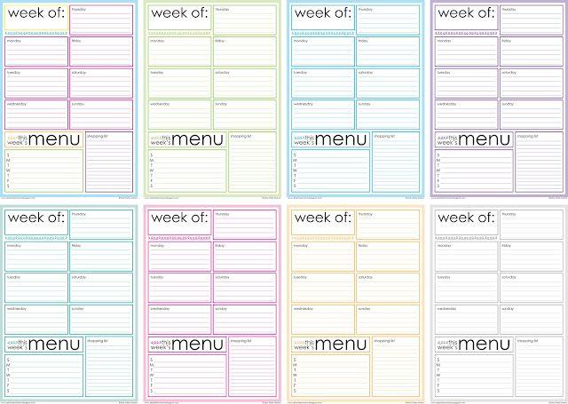 free printable weekly menu planner planner addict pinterest kalender organisation and. Black Bedroom Furniture Sets. Home Design Ideas