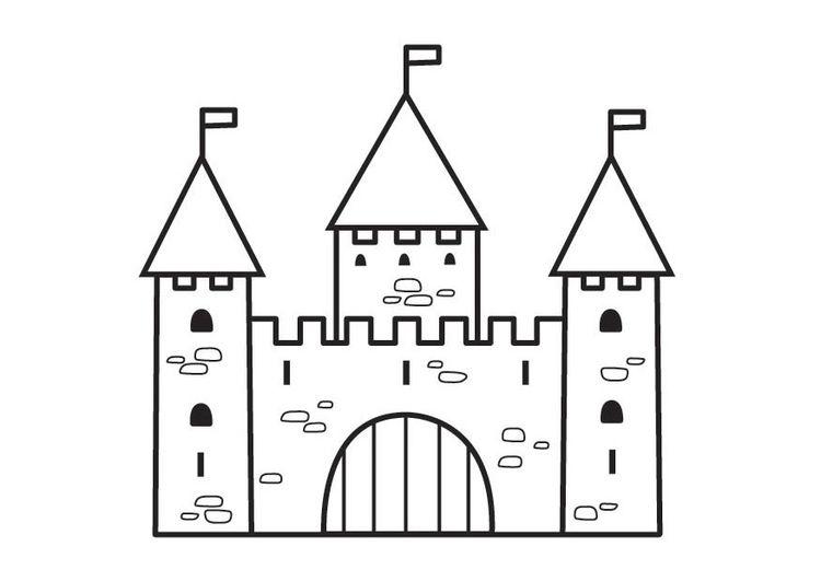 Kleurplaat Kasteel 2 Afb 23125 Castle Coloring Page Castle Crafts Castle Project