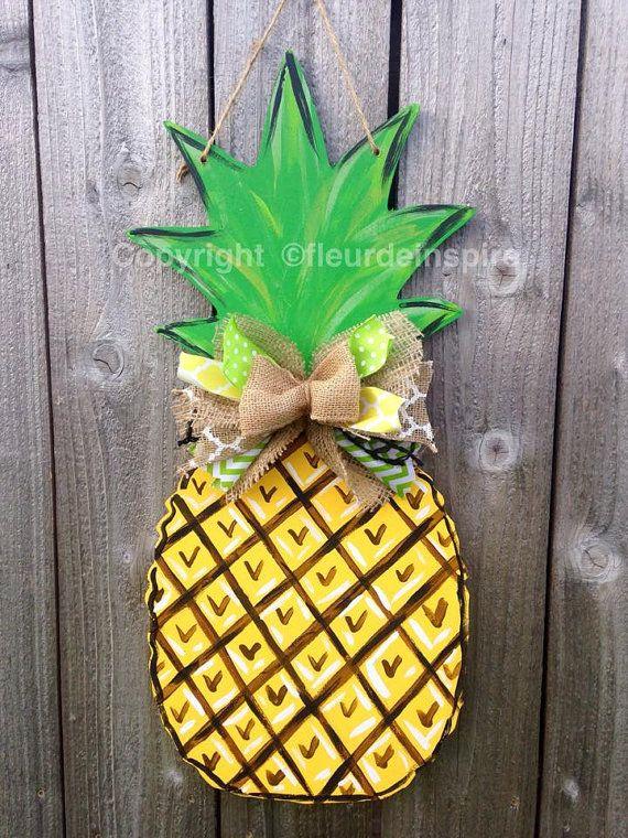 Natural Pineapple Door Hanger Customizable By