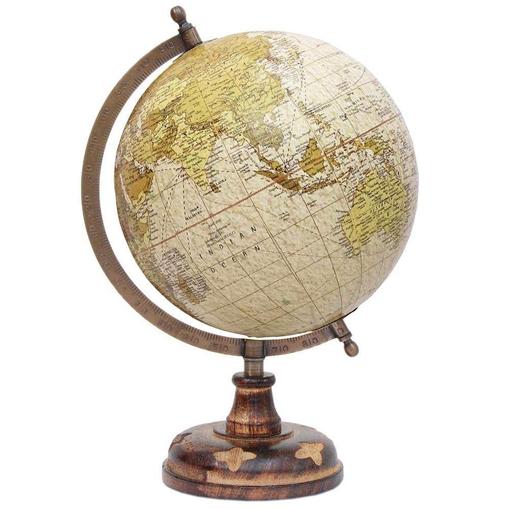 Globe World Map Beige Ocean Earth Rotating Home Office Table Wooden Globe