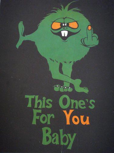 Middle Finger Alien Black Light Poster Vintage 1970s