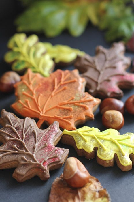 Thanksgiving/ autumn cookies (leaves) :  Beautifully hand Iced biscuits | Juliet Stallwood Cakes & Biscuits