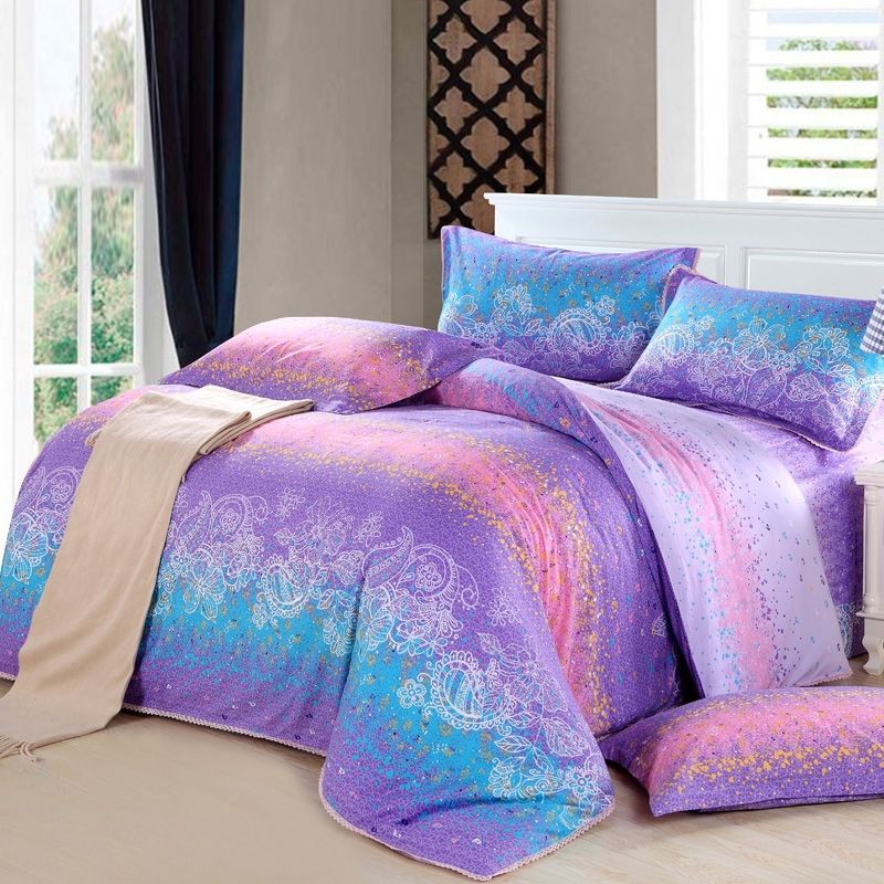 Teal Blue Purple and Pink Western Paisley and Graffiti Print Abstract  Design Full, Queen Size