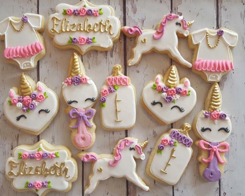 Unicorn Baby Shower Cookies Baby Shower Cakes Girl Unicorn Baby