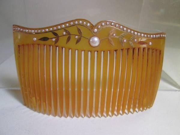 江月 アンティーク 越後屋 本鼈甲真珠飾り金細工櫛 共ケース 画像1