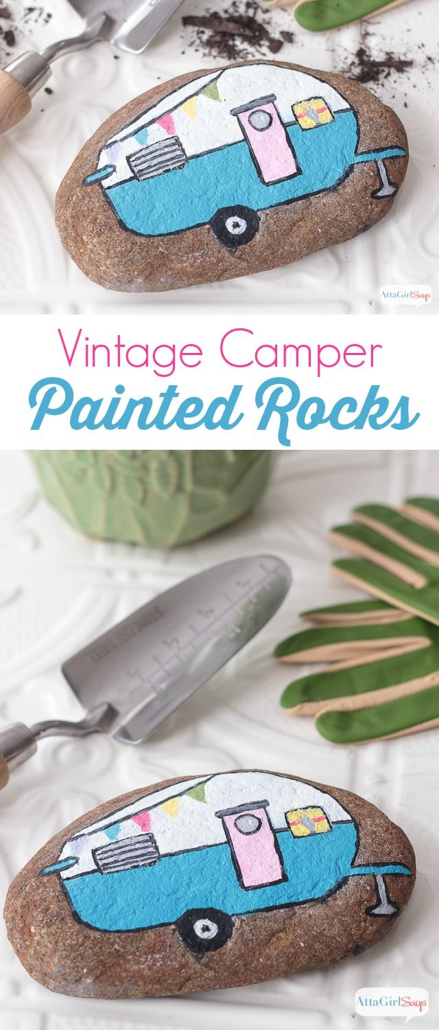 Vintage Camper Painted Rocks for the Garden is part of Painted rocks craft, Rock crafts, Paint rock, Painted rocks, Rock art, Pebble painting - These adorable painted rocks just scream spring  with pastel colors and a whimsical vintage camper design  I can't wait to use them to decorate my spring planters and the garden  sponsored decoartprojects