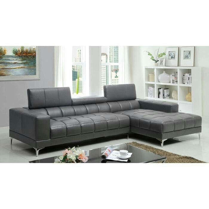 Marvelous Bourdet Contemporary L Shaped Sectional Sofa Chaise Grey Bonded Leather  Console