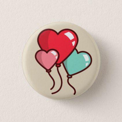 Heart Balloons Pinback Button | Zazzle.com