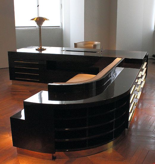 Deco Integrated Office Unit In Original Black Lacquer Finish It - Art deco furniture designers desks