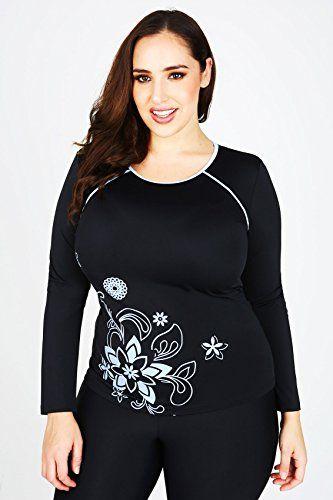 Yours Clothing Women/'s Plus Size Black Long Swim Leggings
