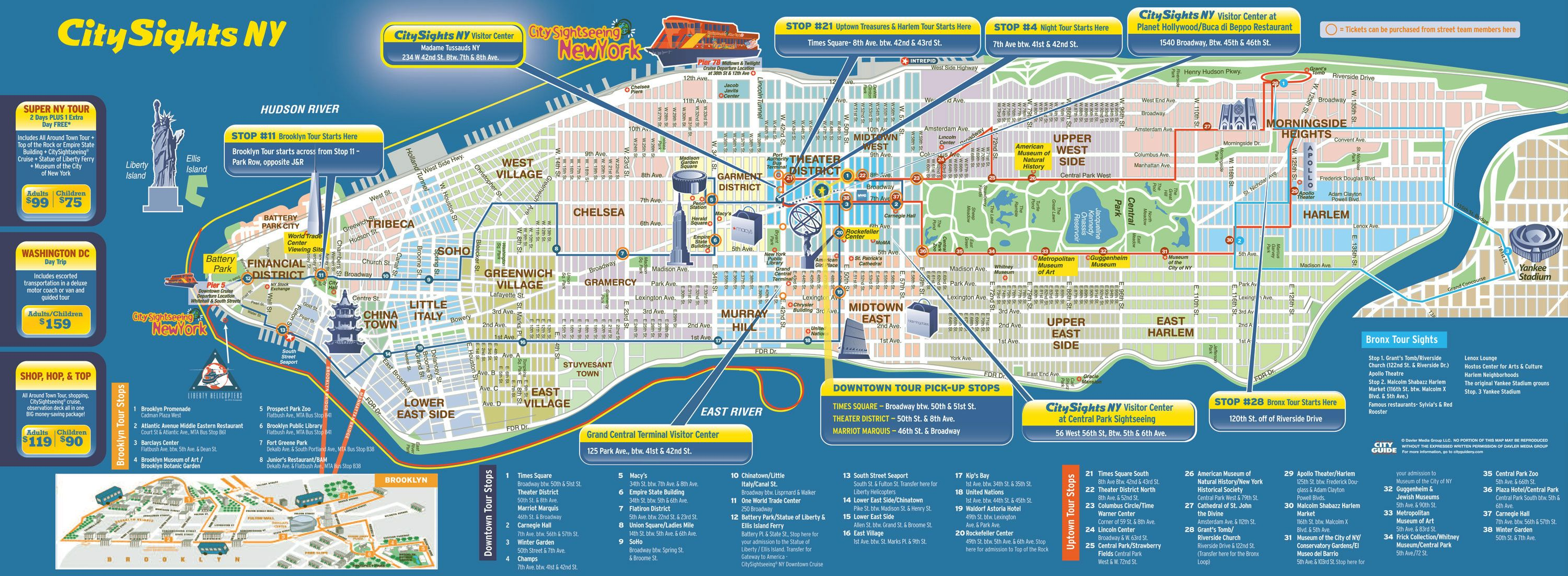 Large detailed city sights map of Manhattan New York city – Manhattan Map Tourist