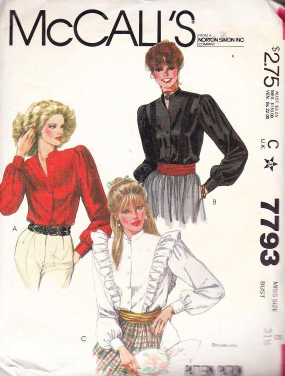 1981 Victorian Style Blouse Vintage Pattern by BuzzyVintage