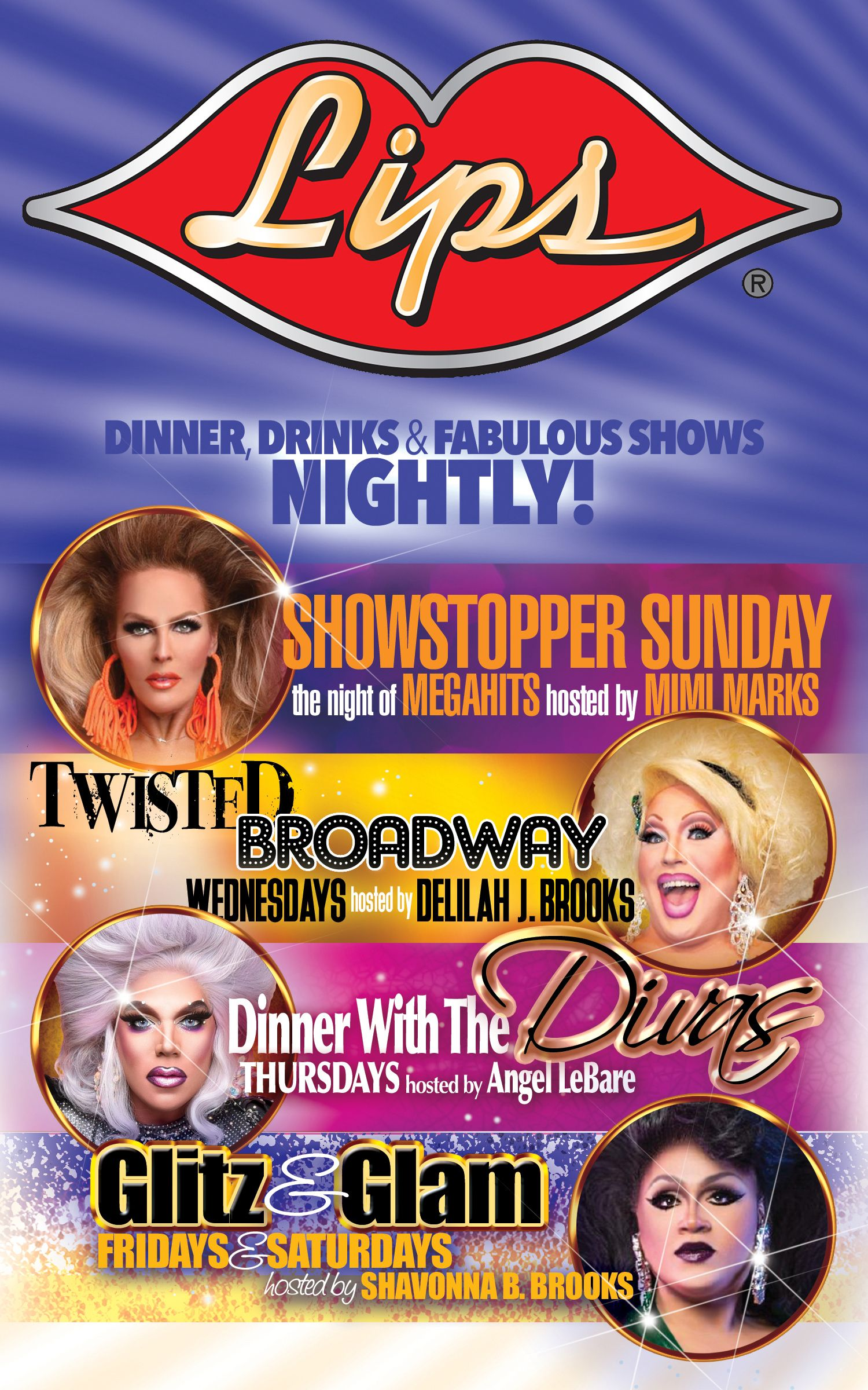 We have a full week at Lips Chicago!  #lipschicago #chicagoloop #dragshow # dragqueen #drag #mccormickplace #dinnershow #chitown #broadwayinchicago