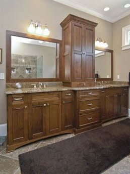 Double Vanity With Center Storage Tower With Images Bathroom