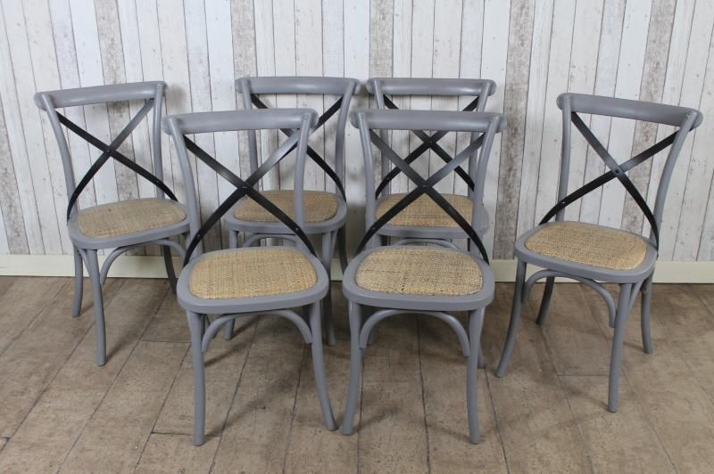 GREY PAINTED OAK BENTWOOD CHAIRS WITH METAL CROSS BACK SHABBY CHIC VINTAGE  STYLE | EBay