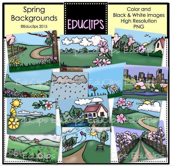 Spring Backgrounds Clip Art Bundle (With images) | Spring ...