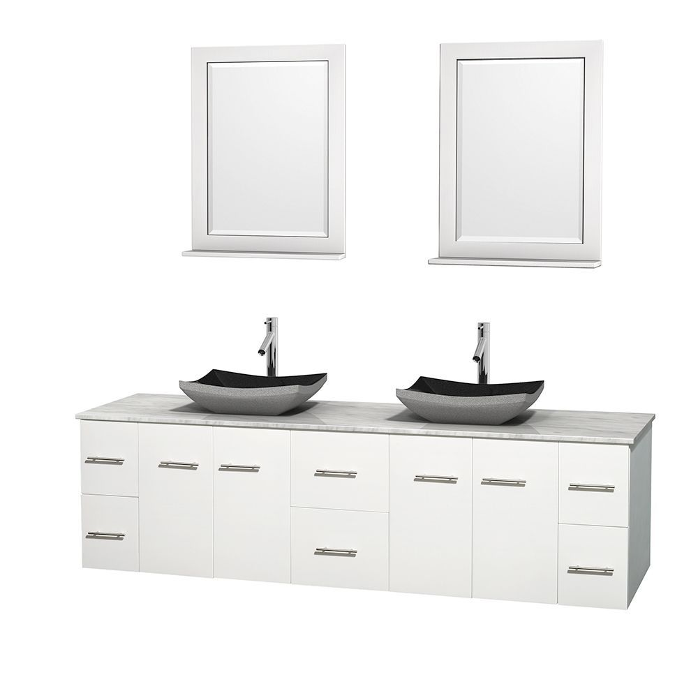 Pictures In Gallery Wyndham Collection Centra inch Double Bathroom Vanity in White w Mirrors