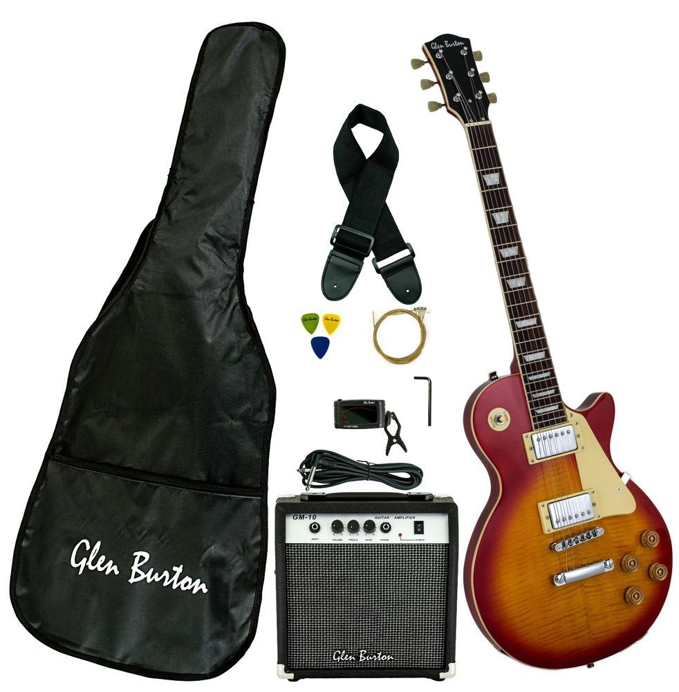 Burton Les Paul Copy Flame Top Beautiful + 10W Amp, Bag, Strap, Picks, Tuner