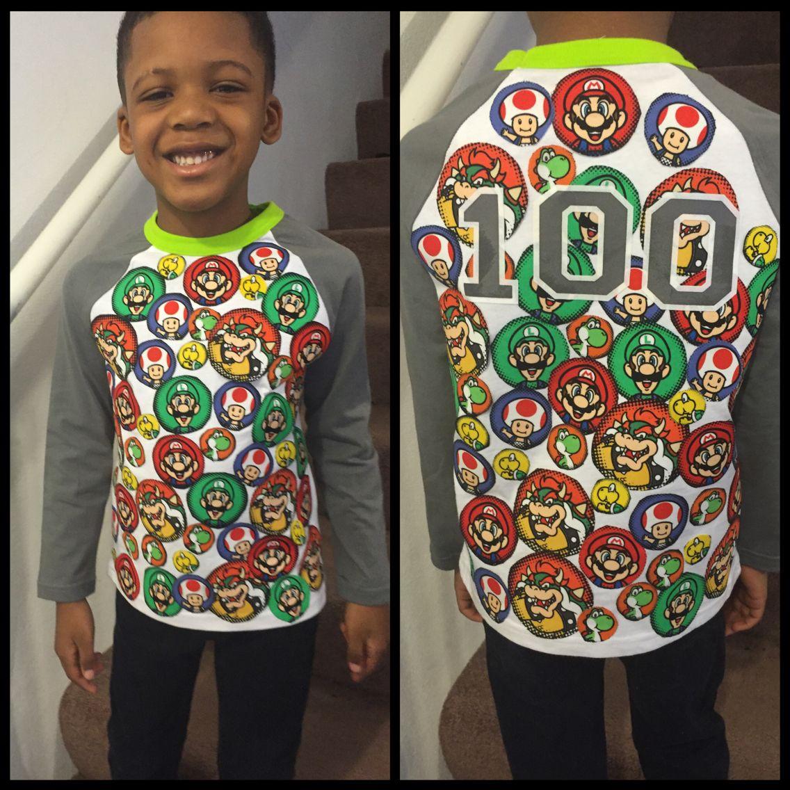 100th Day Of Kindergarten Super Mario Shirt Super Easy 100th Day