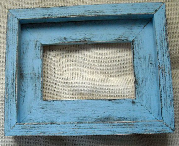 5x7 Baby Blue Over Black Stacked Rustic by JMWattscreations