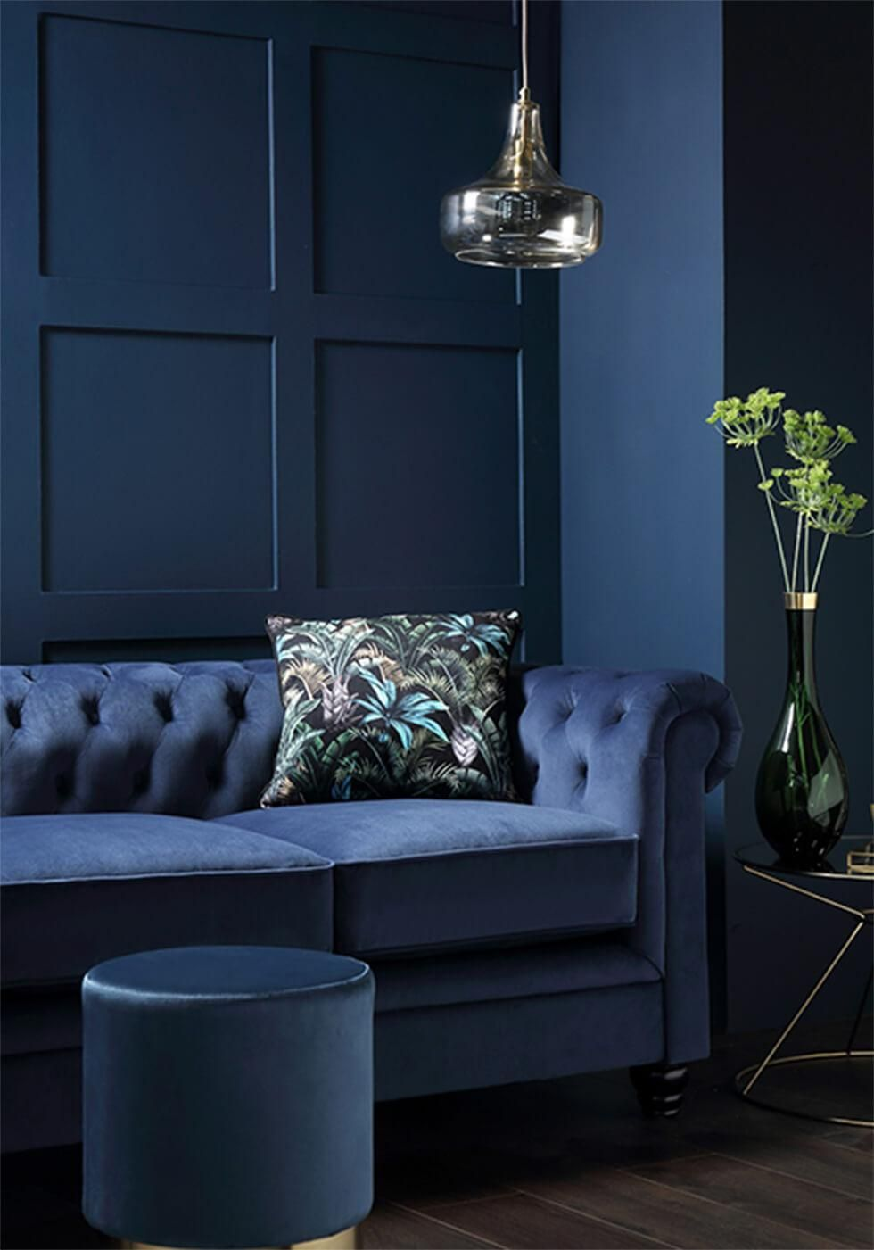 8 Ways To Style The Chesterfield Sofa Furniture Choice In 2020 Blue Green Bedrooms Blue Velvet Chairs Blue Living Room